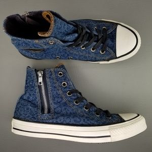 Converse CTAS Denim Side Zip High Top Shoes 7.5